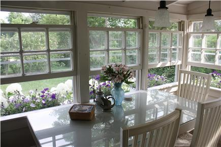 Dennis Bayside Cape Cod vacation rental - Enjoy your meals in an airy dining room overlooking gardens