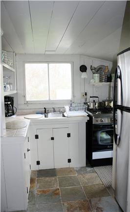 Dennis Bayside Cape Cod vacation rental - Updated galley kitchen with new stove and fridge