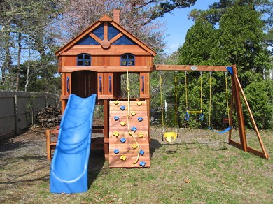Downtown Chatham Cape Cod vacation rental - Swingset to keep the kids happy in the backyard!