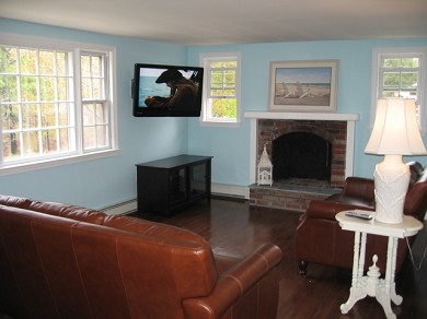 Downtown Chatham Cape Cod vacation rental - Updated family room picture with new paint and flat screen TV!