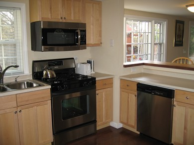 Downtown Chatham Cape Cod vacation rental - Kitchen with Brand New Appliances and counter seating for 2