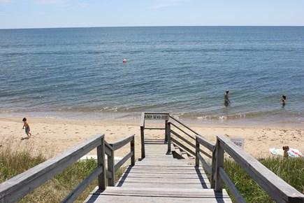 New Seabury, Popponesset Beach  New Seabury vacation rental - Jeep Place walkway to beach. Buoys in the water mark no boat area
