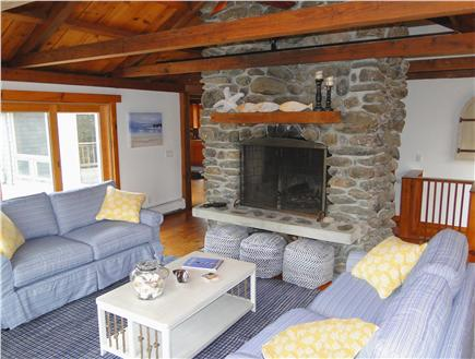 Brewster Cape Cod vacation rental - Living room with fireplace and sliders to deck