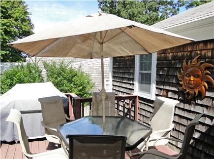 West Yarmouth Cape Cod vacation rental - Sunny morning deck – great for coffee, grilling out