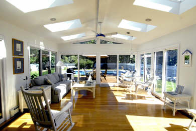 Mashpee Cape Cod vacation rental - Family room overlooking garden and pool