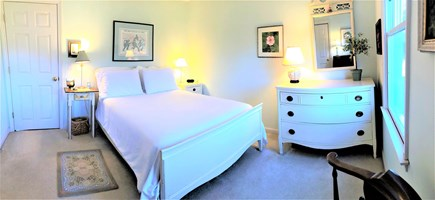 East Orleans Cape Cod vacation rental - Double bed in serene colors of the 1st floor guest room
