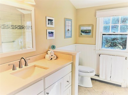 East Orleans Cape Cod vacation rental - Bright bath with step in shower and washer/dryer on 1st floor