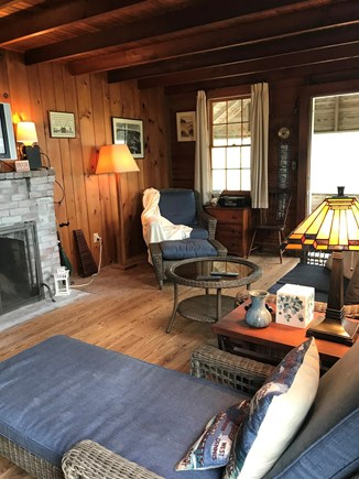 Brewster Cape Cod vacation rental - Living room with working fireplace, cable TV, DVD, WiFi & radio.