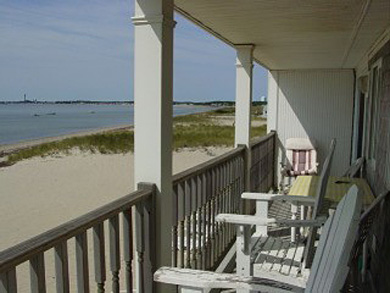 Truro Cape Cod vacation rental - Porch overlooking beach and water