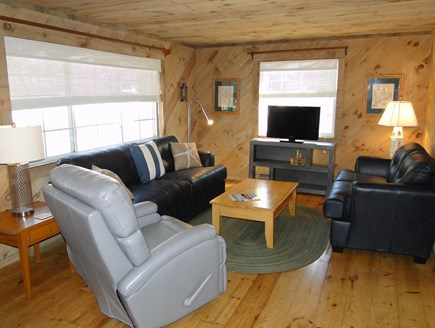 Falmouth New Silver Beach Cape Cod vacation rental - Living room with new couches, flat screen TV