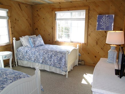 Falmouth New Silver Beach Cape Cod vacation rental - Upstairs twin bedroom with flat screen TV