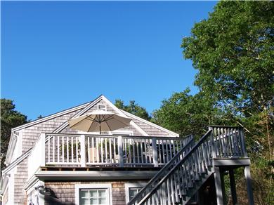 Chatham Cape Cod vacation rental - stairway to deck/outdoor shower below