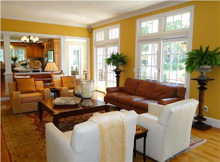 New Seabury, Maushop Village New Seabury vacation rental - Living room opens to kitchen and dining, glass sliders to deck