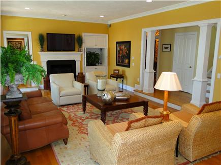 New Seabury, Maushop Village New Seabury vacation rental - Open living room with flat screen TV and fireplace