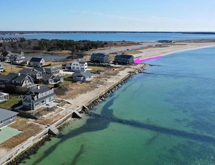 Hyannis Cape Cod vacation rental - Aerial View (pink arrow)