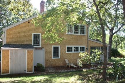 Wellfleet Cape Cod vacation rental - The back of the cottage where outside shower is located.