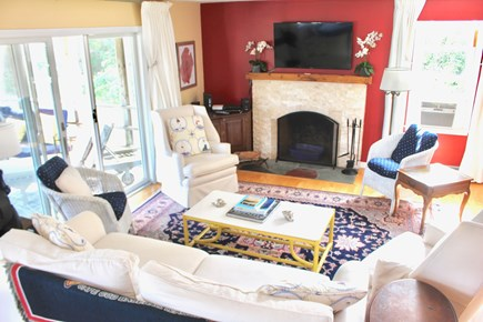 East Orleans Cape Cod vacation rental - Main House Living Room - 50 inch Flat screen & A/C window unit