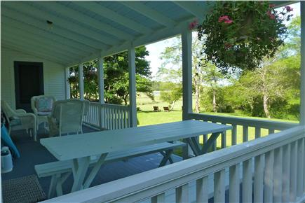 Truro Cape Cod vacation rental - The large porch with a great view all the bay.