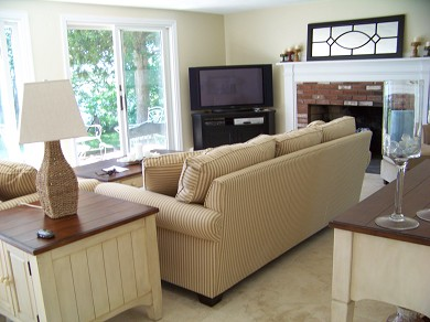 East Falmouth Cape Cod vacation rental - Living Room with Fireplace and TV