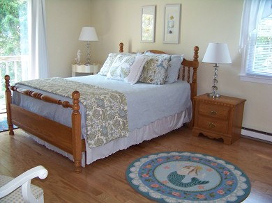 East Falmouth Cape Cod vacation rental - Master Bedroom w/small deck and View and Master Bath