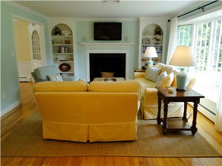 Osterville Osterville vacation rental - Spacious living room with HDTV, bay window, fireplace