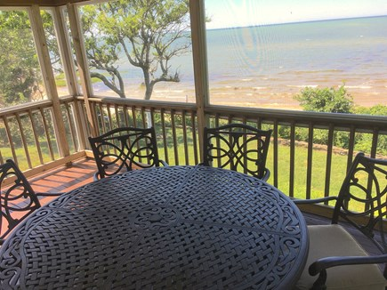 Brewster Cape Cod vacation rental - Not many screened porches overlooking bay and beach like this