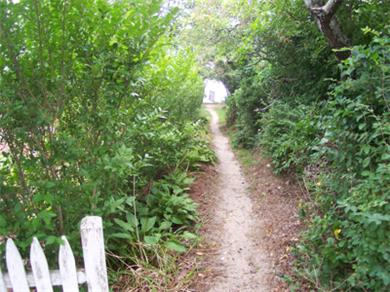Brewster Cape Cod vacation rental - Path to beach is right at the end of the driveway.