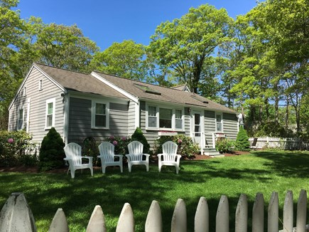 New Seabury, Mashpee, Poppy New Seabury vacation rental - House #1, 5BR/2BA: Front View of L Shaped Home With Large Yard