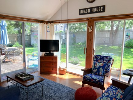 Dennis Port Cape Cod vacation rental - Sun Room w/ view of Backyard
