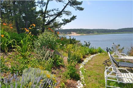 Wellfleet Cape Cod vacation rental - Lounge area next to bountiful garden