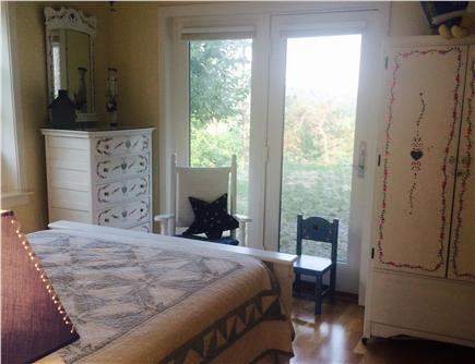 Wellfleet Cape Cod vacation rental - Yellow bedroom with painted furniture and a double  bed