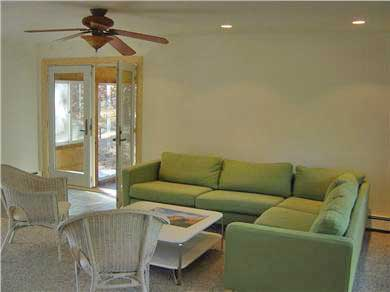 Wellfleet Cape Cod vacation rental - Living Room with View to Screened in Porch