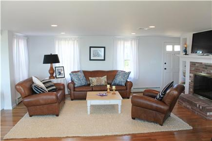 West Yarmouth Cape Cod vacation rental - Living room with all new leather furniture