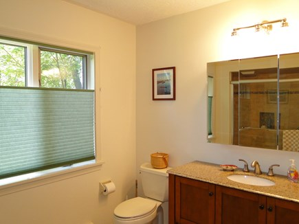 Harwich Cape Cod vacation rental - Master bathroom with walk in glass shower