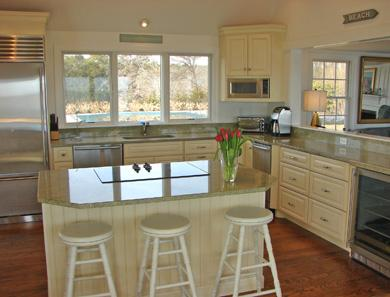 North Chatham Cape Cod vacation rental - Modern kitchen, top of the line appliances overlooks pool and sea