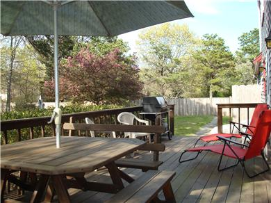 Eastham Cape Cod vacation rental - Spacious deck with picnic table and many chairs and tables
