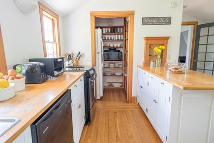 Woods Hole, Falmouth Woods Hole vacation rental - Full kitchen opens with French doors onto deck with water views.