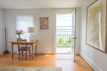Woods Hole, Falmouth Woods Hole vacation rental - Living room & balcony overlook Vineyard Sound and Little Harbor.