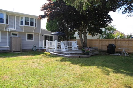 Sandwich (Town Neck) Cape Cod vacation rental - Fenced in Backyard with Deck and Outdoor Shower