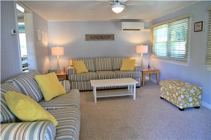 Sandwich (Town Neck) Cape Cod vacation rental - Family Room with Sliding Glass Door to Deck