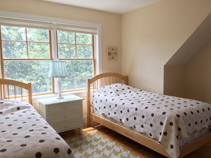 Wellfleet Cape Cod vacation rental - One of the two twin bedrooms both w/treetop and star gazing view