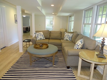 Chatham, Hardings Beach Area Cape Cod vacation rental - Lower level family room with TV, walk out to back yard