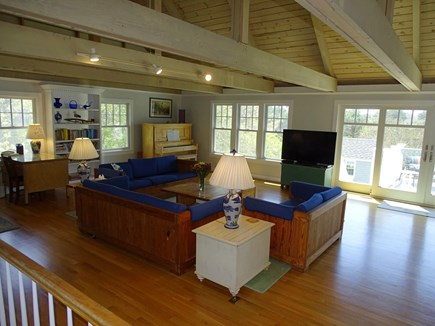 Chatham, Hardings Beach Area Cape Cod vacation rental - Living room offers TV and wall of windows opening to deck
