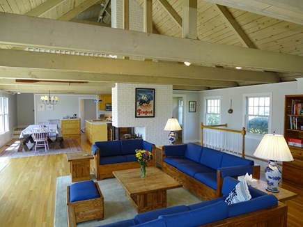 Chatham, Hardings Beach Area Cape Cod vacation rental - Open vaulted living room with beamed ceilings