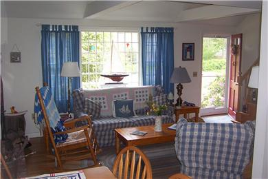 Harwich Cape Cod vacation rental - Living room with lots of light and cape cod air