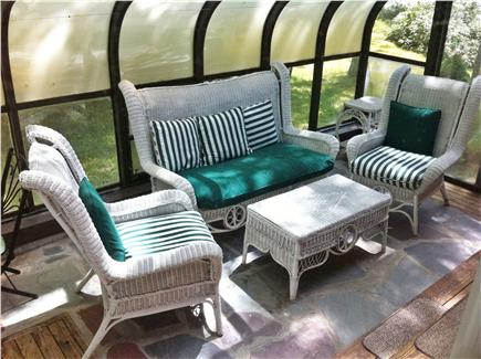 Wellfleet Cape Cod vacation rental - Sunroom with cozy wicker furniture