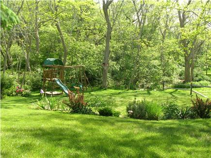 Wellfleet Cape Cod vacation rental - Fabulous wooden play structure with sand box and slide for kids!
