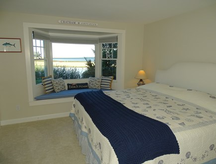 North Chatham, Beach, w Kayaks Cape Cod vacation rental - Spacious King bedroom with bay window seat, water views