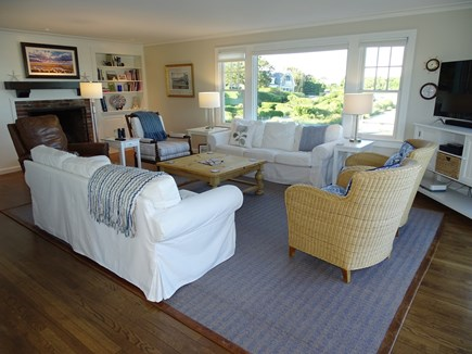North Chatham, Beach, w Kayaks Cape Cod vacation rental - Living room offers Smart TV, gas fireplace charm