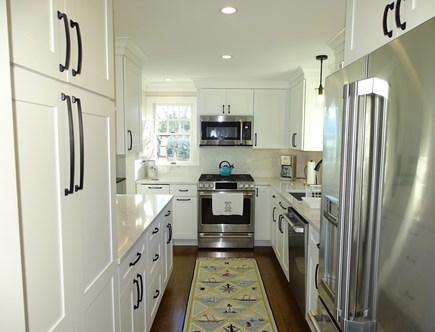 North Chatham, Beach, w 4 kaya Cape Cod vacation rental - 2020 New Kitchen, with Quartz counters, GE Cafe Series appliances